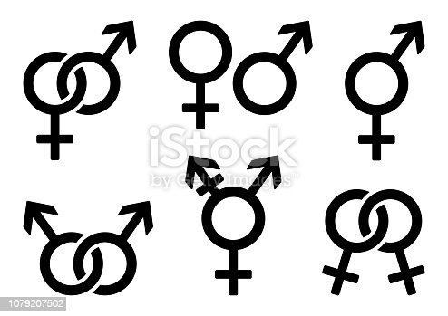 Set of gender icons. Vector illustration