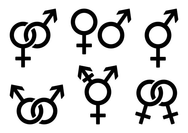 set of gender icons. vector illustration - zmysłowość stock illustrations