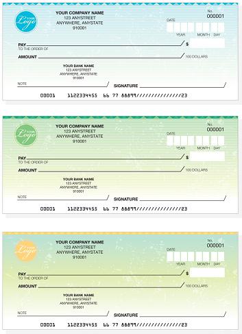 Set of generic company check designs
