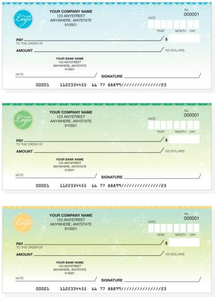 ilustrações, clipart, desenhos animados e ícones de conjunto de design de cheque empresa comum - cheque