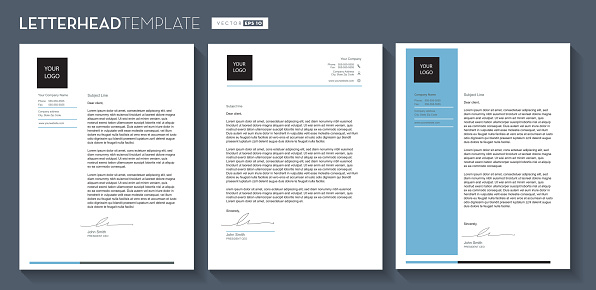Set of Generic Company Letterhead template design 8.5x11 inches