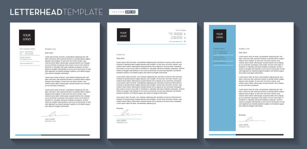 Set of Generic Company Letterhead template design 8.5x11 inches Vector illustration of a Generic Company Letterhead template design 8.5x11 inches. Easy to customize and edit. EPS 10. letterhead stock illustrations