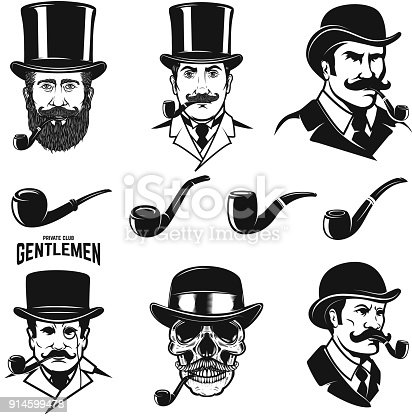 istock Set of gentleman's head with smoking pipes. Design elements for label, emblem, sign. 914599478