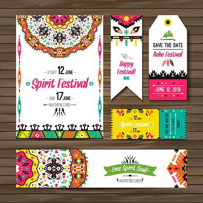 Set of geometric boho colorful flyers