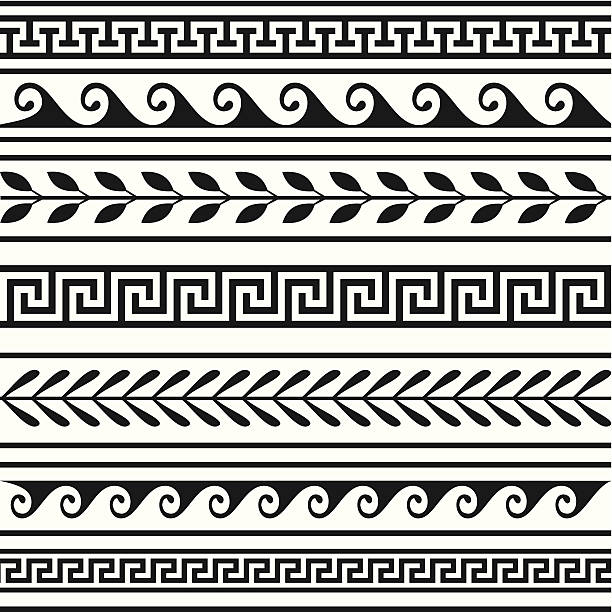 Set of geometric borders Set of geometric borders, full scalable vector graphic included Eps v8 and 300 dpi JPG. classical greek stock illustrations