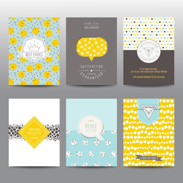 ilustraciones, imágenes clip art, dibujos animados e iconos de stock de conjunto de folletos geométrica y diseños vintage tarjeta - baby shower