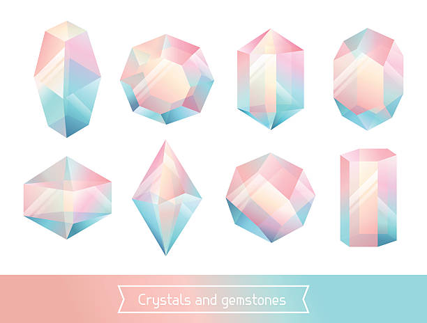 set of geometric crystals gem and minerals - gemstone stock illustrations, clip art, cartoons, & icons
