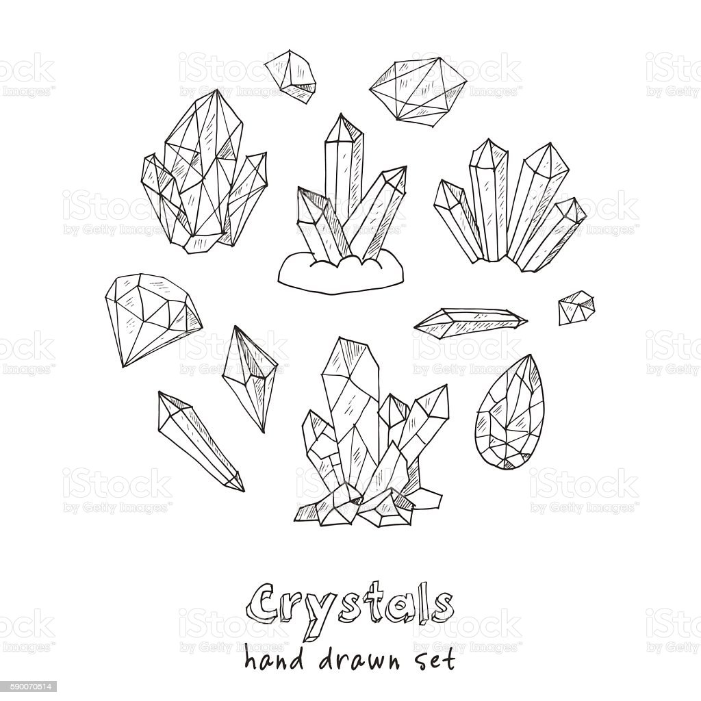 Set of geometric crystals gem and minerals stock vector for Gem coloring pages