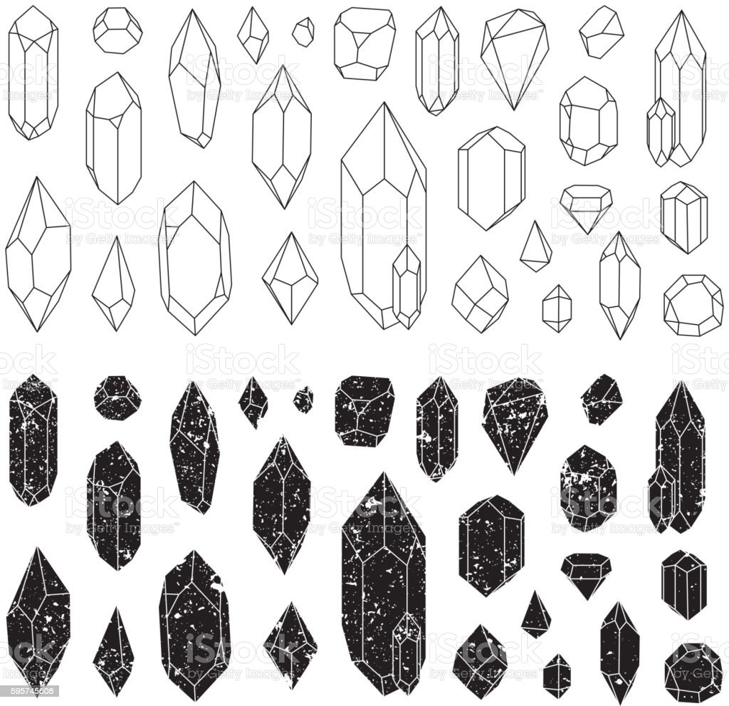 Set of geometric crystals, line design.