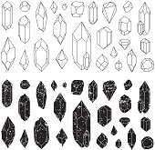 Set of geometric crystals, line design.