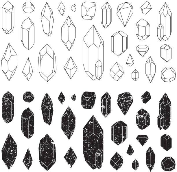 bildbanksillustrationer, clip art samt tecknat material och ikoner med set of geometric crystals, line design. - kristall
