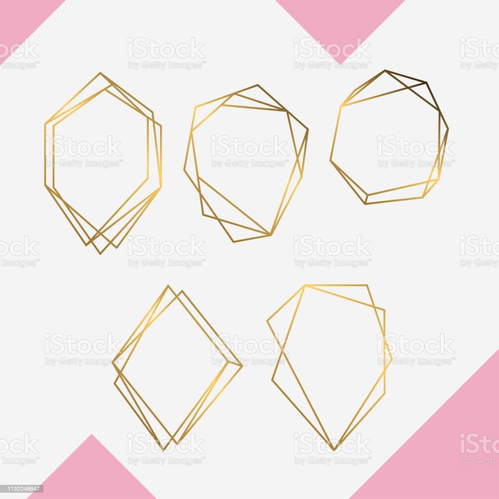 Conjunto de lujo geométrico dorado ilustración de conjunto de lujo geométrico dorado y más vectores libres de derechos de a la moda libre de derechos