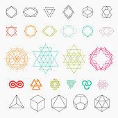 Hexagons, shapes, logos. Line art, vector illustration EPS 10