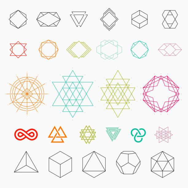 set of geometric icons - diamond shaped stock illustrations, clip art, cartoons, & icons