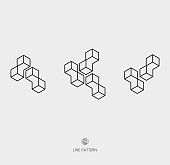 set of geometric line icon