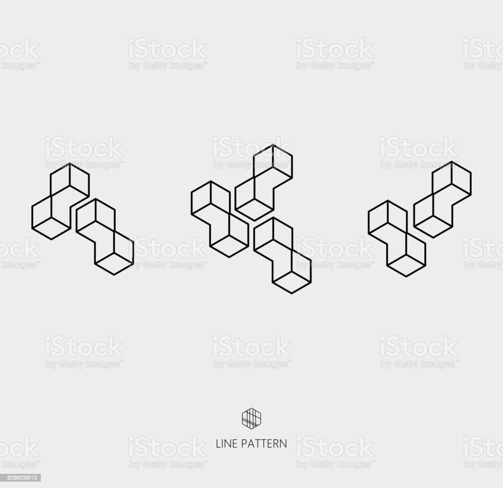 Reihe von geometrischen Liniensymbol – Vektorgrafik