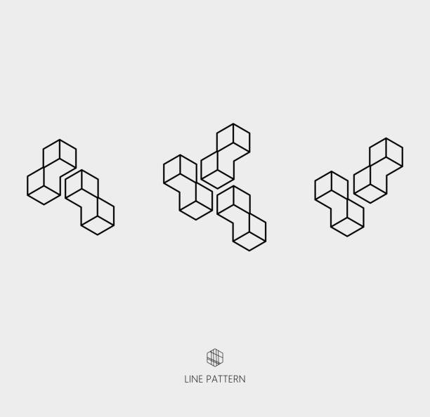 set of geometric line icon - 3d icons stock illustrations, clip art, cartoons, & icons