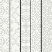 Set of geometric line lattice seamless arabic pattern. Islamic.