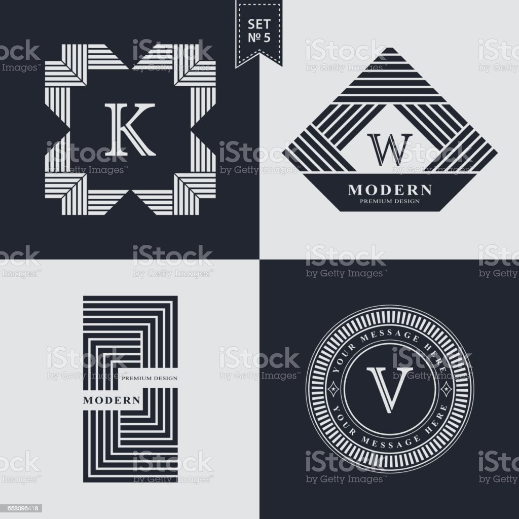 Set of Geometric linear monogram template. Modern  design. Letter emblem K, W, V. Premium Collection. Mark of distinction. Universal business sign for brand name, company, business card, badge. Vector illustration vector art illustration