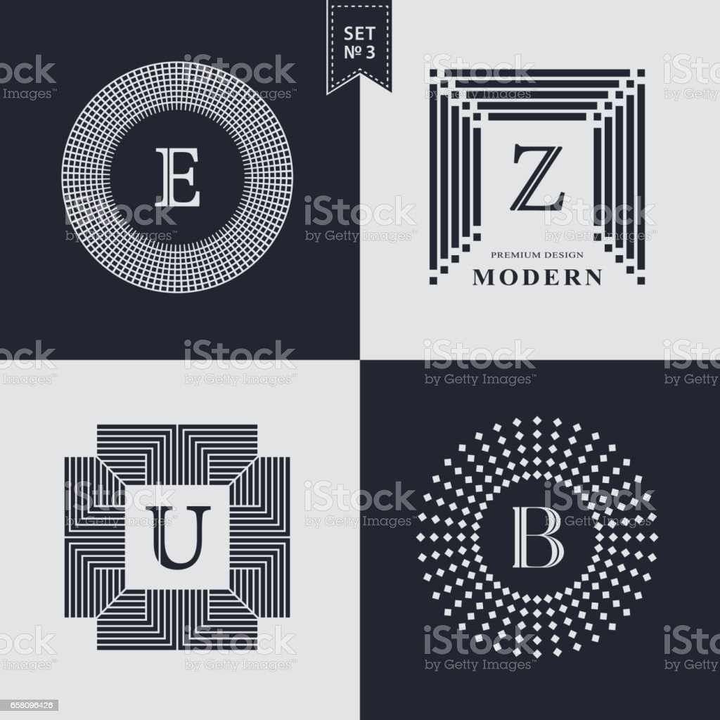 Set of Geometric linear monogram template. Modern design. Letter emblem E, Z, U, B. Premium Collection. Mark of distinction. Universal business sign for brand name, company, business card, badge. Vector illustration vector art illustration