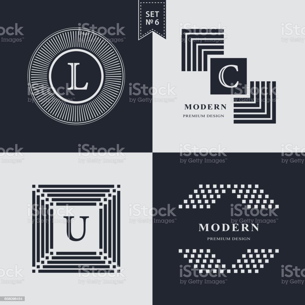 Set of Geometric linear monogram template. Modern  design. Letter emblem L, C, U. Premium Collection. Mark of distinction. Universal business sign for brand name, company, business card, badge. Vector illustration vector art illustration