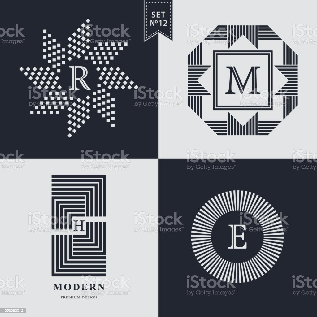 Set of Geometric linear monogram template. Modern design. Letter emblem R, M, H, E. Premium Collection. Mark of distinction. Universal business sign for brand name, company, business card, badge. Vector illustration vector art illustration