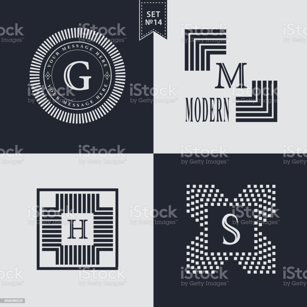 Set of Geometric linear monogram template. Modern design. Letter emblem G, M, H, S. Premium Collection. Mark of distinction. Universal business sign for brand name, company, business card, badge. Vector illustration vector art illustration