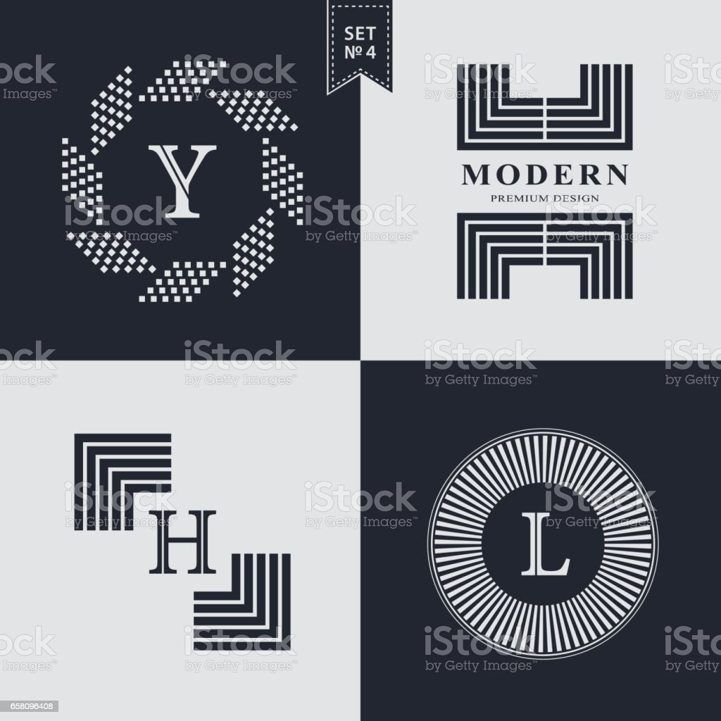 Set of Geometric linear monogram template. Modern logo design. Letter emblem  Y, H, L. Premium Collection. Mark of distinction. Universal business sign for brand name, company, business card, badge. Vector illustration vector art illustration