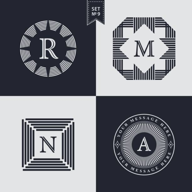Set of Geometric linear monogram template. Modern logo design. Letter emblem R, M, N, A. Premium Collection. Mark of distinction. Universal business sign for brand name, company, business card, badge. Vector illustration vector art illustration