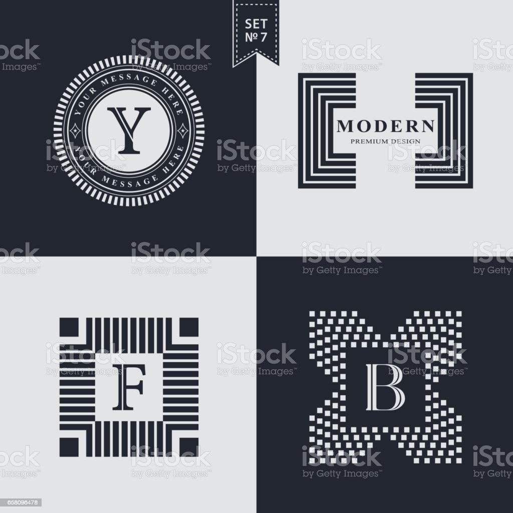 Set of Geometric linear monogram template. Modern logo design. Letter emblem Y, F, B. Premium Collection. Mark of distinction. Universal business sign for brand name, company, business card, badge. Vector illustration vector art illustration