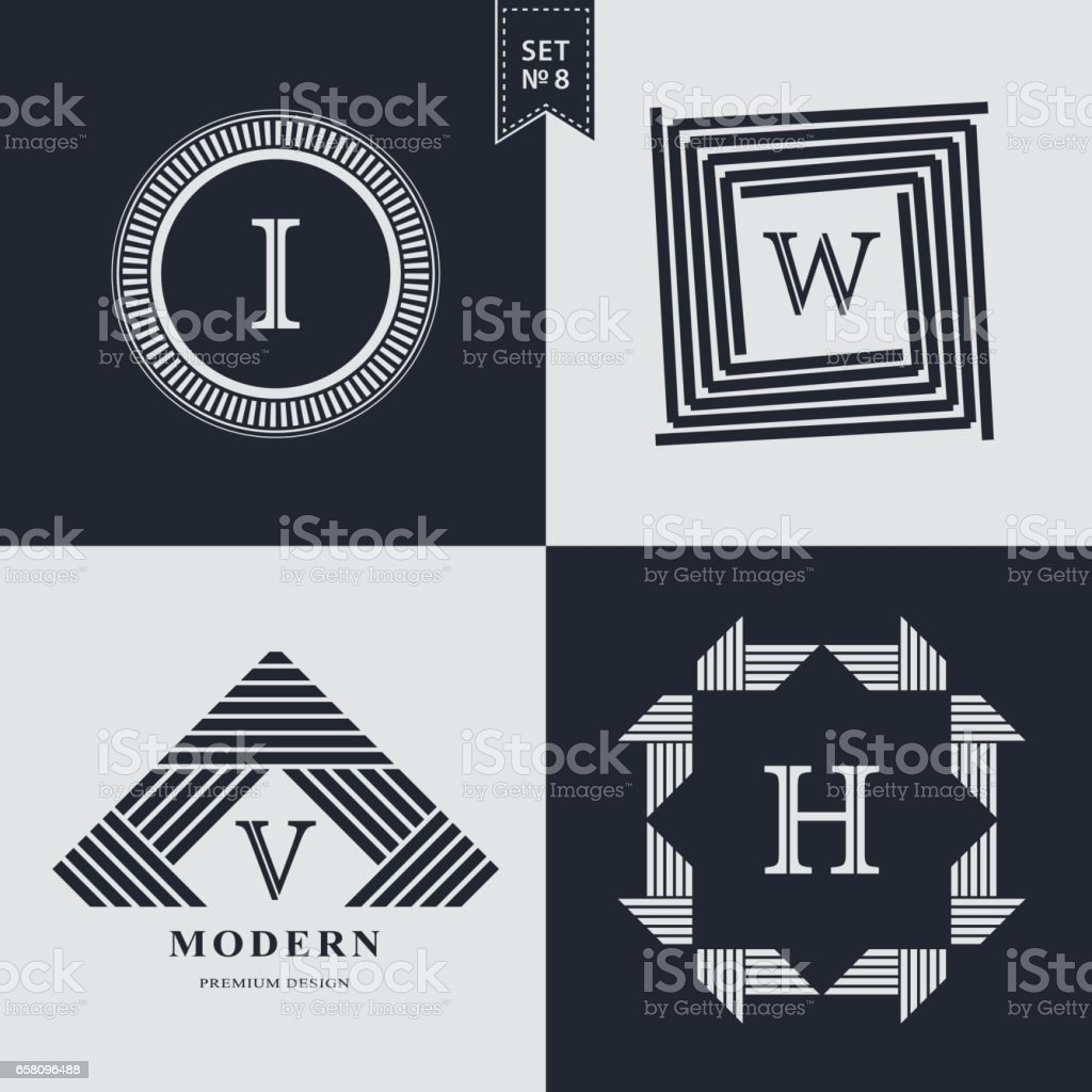 Set of Geometric linear monogram template. Modern logo design. Letter emblem I, W, V, H. Premium Collection. Mark of distinction. Universal business sign for brand name, company, business card, badge. Vector illustration vector art illustration