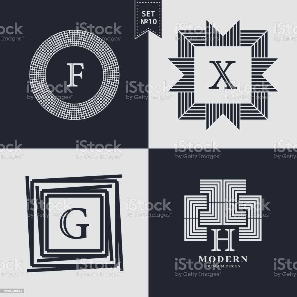 Set of Geometric linear monogram template. Modern logo design. Letter emblem F, X, G, H. Premium Collection. Mark of distinction. Universal business sign for brand name, company, business card, badge. Vector illustration vector art illustration