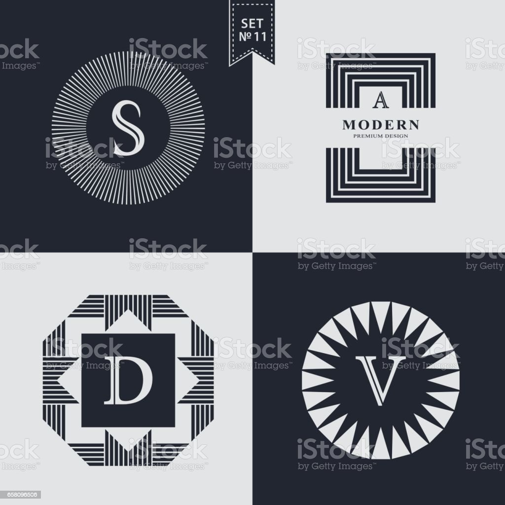 Set of Geometric linear monogram template. Modern logo design. Letter emblem S, A, D, V. Premium Collection. Mark of distinction. Universal business sign for brand name, company, business card, badge. Vector illustration vector art illustration