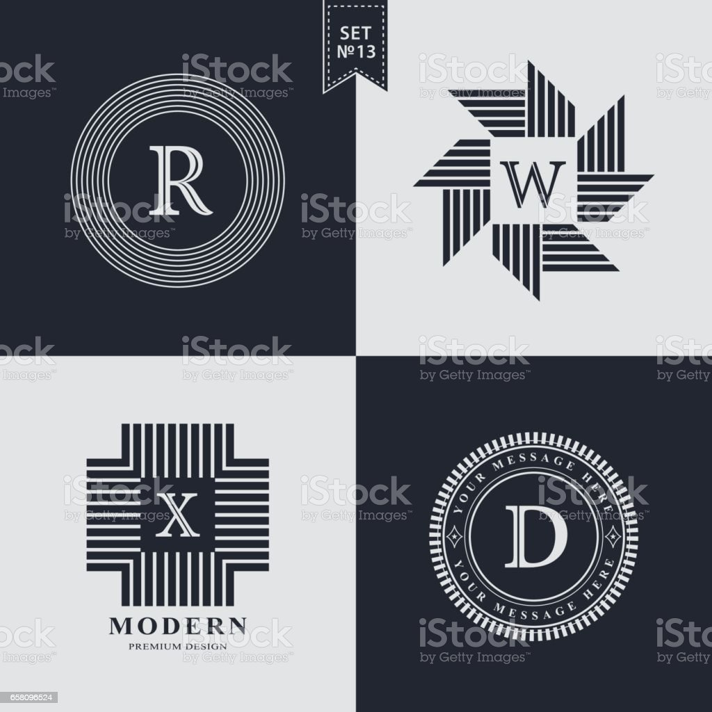 Set of Geometric linear monogram template. Modern logo design. Letter emblem R, W, X, D. Premium Collection. Mark of distinction. Universal business sign for brand name, company, business card, badge. Vector illustration vector art illustration