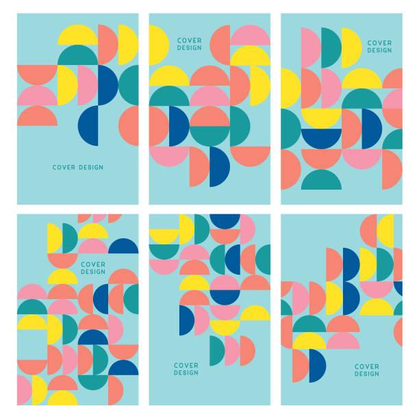 reihe von geometrischen minimal cover vorlagen - bauhaus stock-grafiken, -clipart, -cartoons und -symbole