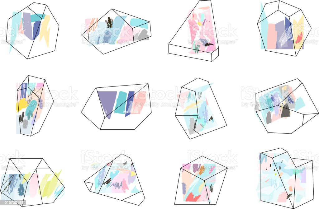 Set of geometric outline shapes and crystals. vector art illustration