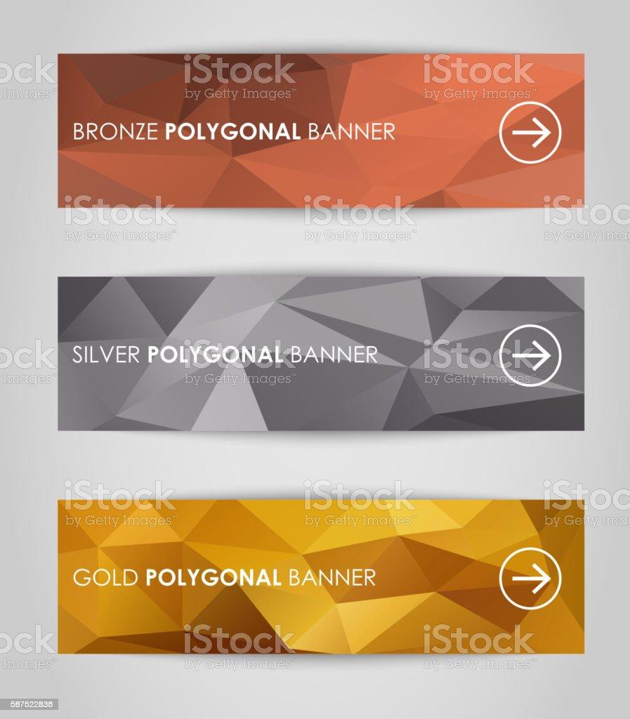 Set of geometric polygonal banner vector art illustration