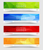 Set of geometric polygonal banner color of green, blue, red and orange