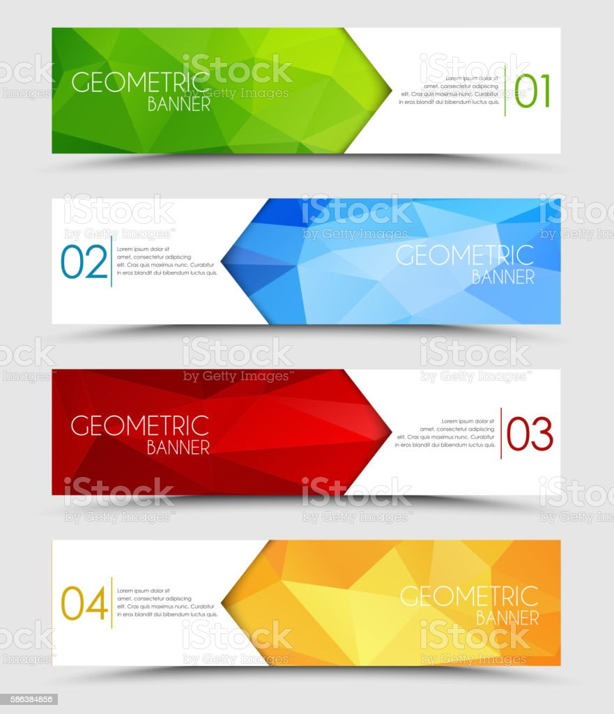 Set of geometric polygonal banners