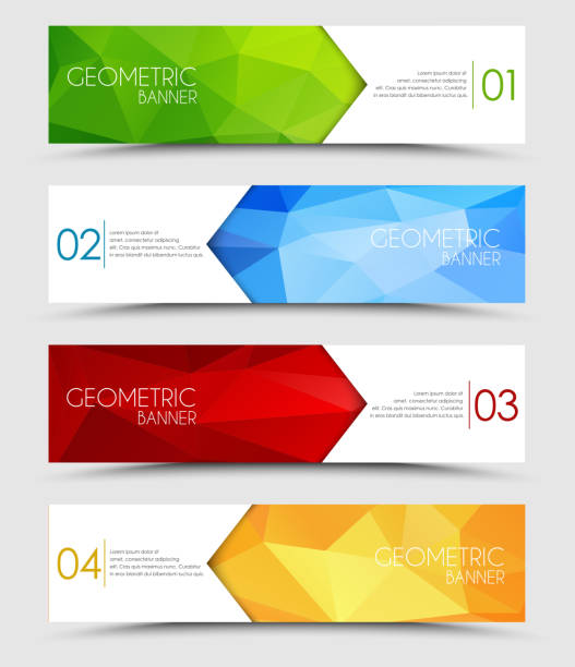 Set of geometric polygonal banners vector art illustration