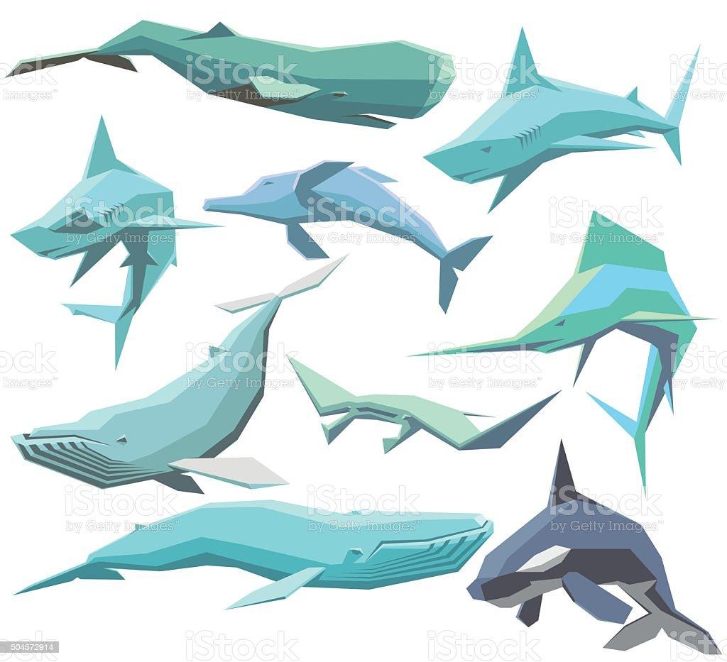Reihe von geometrischen Tiere Meer – Vektorgrafik