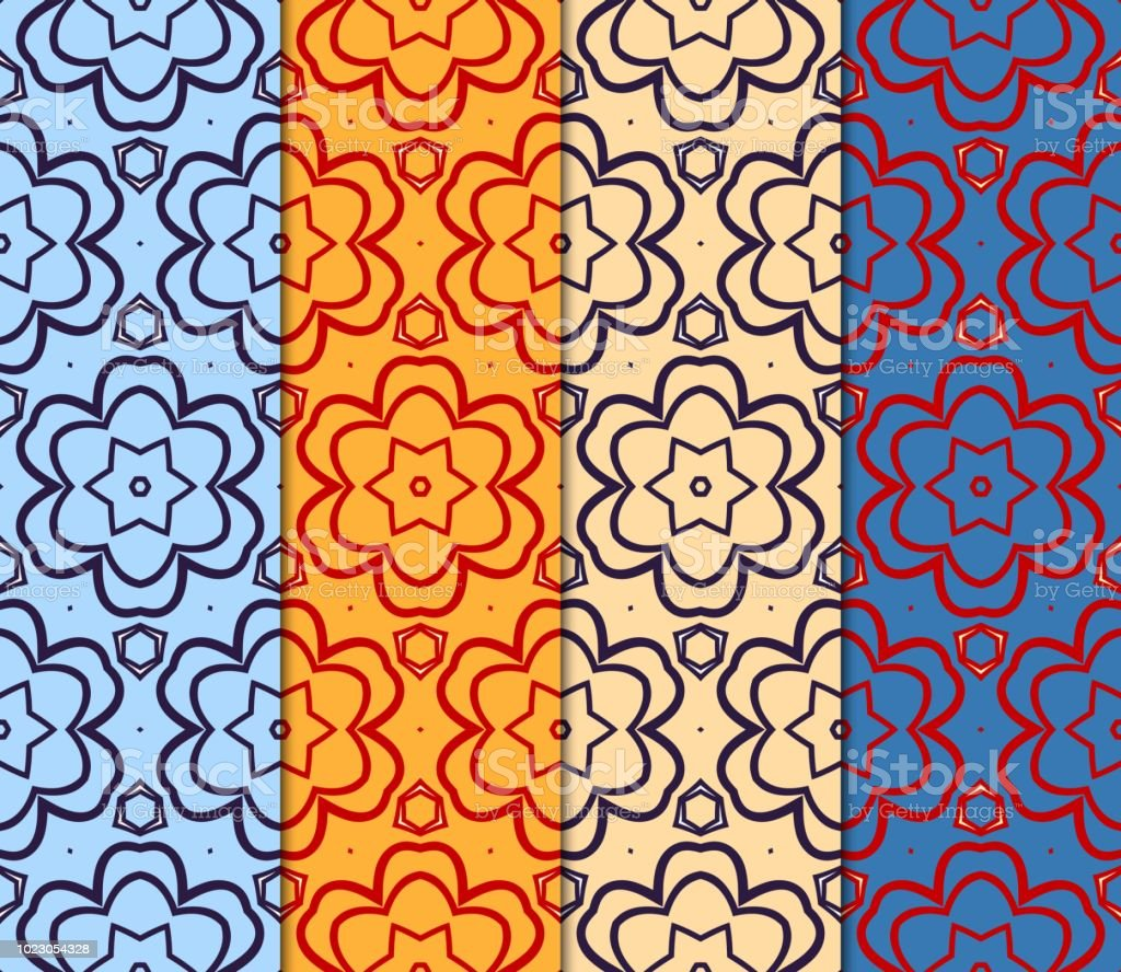 Ilustración De Conjunto De Patrón Geométrico Sin Fisuras Estilo De