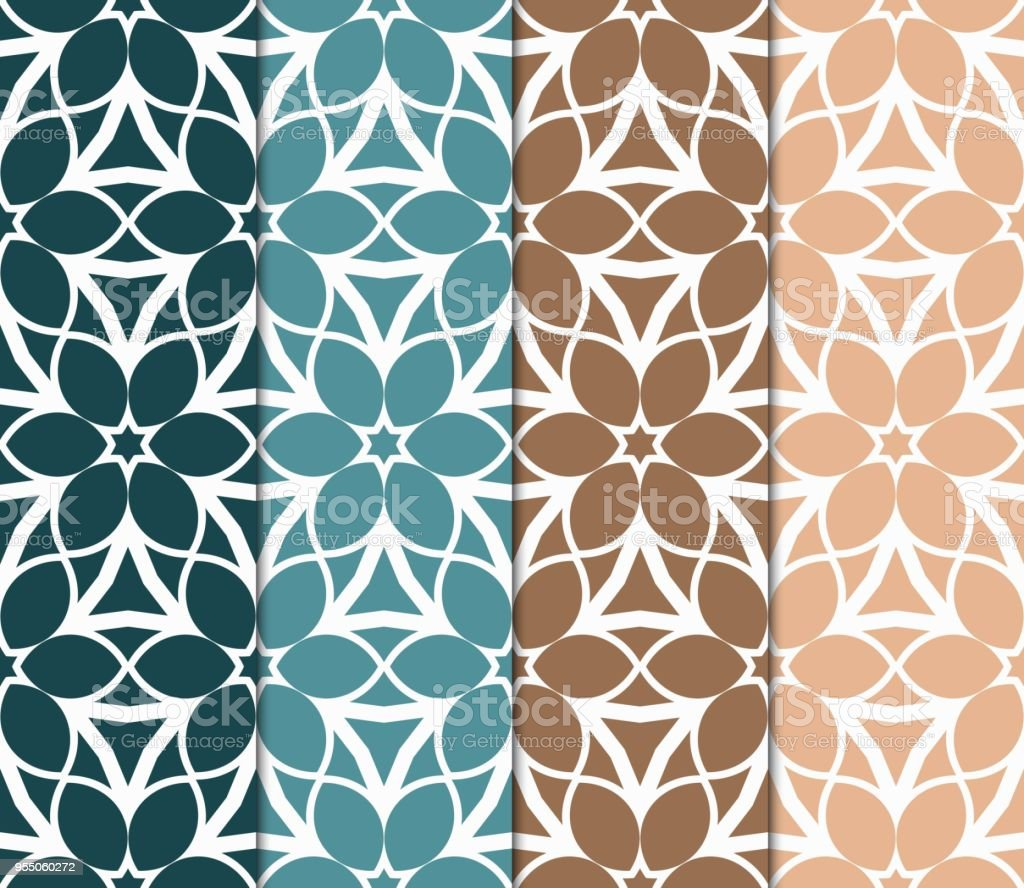 Set Of Geometric Seamless Pattern Decorative Art Deco Style Vector