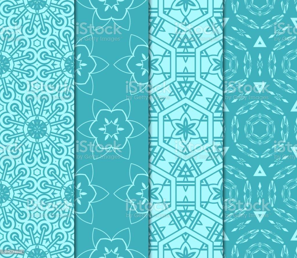 Satz Von Geometrischen Nahtlose Muster Modernes Ornament ...