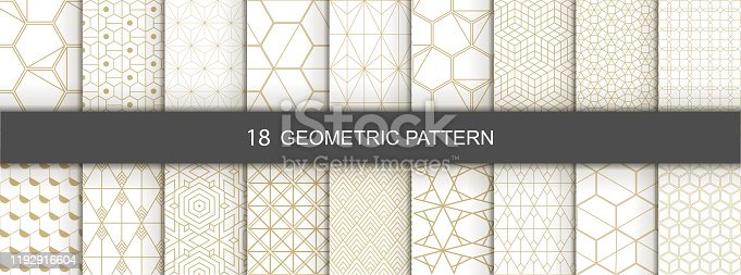 istock Set of Geometric seamless patterns. Abstract geometric  hexagonal  graphic design print 3d cubes pattern. Seamless  geometric cubes pattern. 1192916604