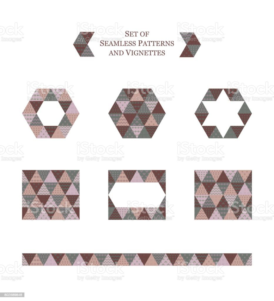 set of geometric seamless patterns and vignettes vector art illustration