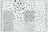 Set of geometric seamless patterns. Black and white textures.