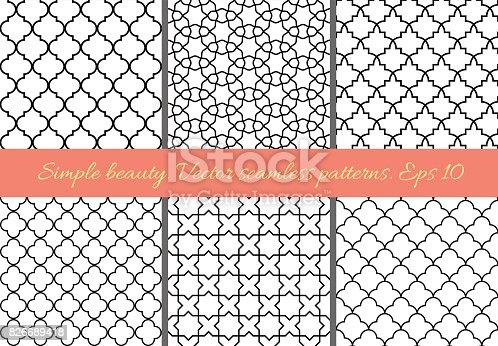 Set of geometric seamless patterns in Oriental style.