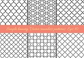 Set of geometric seamless patterns in Oriental style.