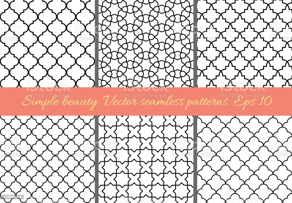 Set of geometric seamless patterns in Oriental style. vector art illustration